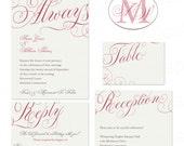 Printable Wedding Invite RSVP Response Table Number and Monogram - Wedding Stationery Set Beautiful Blush Calligraphy