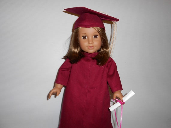 Graduation cap and gown doll clothes for American Girl and similar 18 inch dolls Hand made in USA