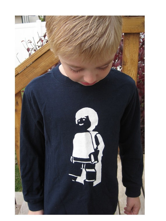 Hand stenciled Lego Minifig shirts for boys