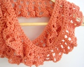 Coral spring crochet lace scarf, womans girls lightweight handmade peach scarf