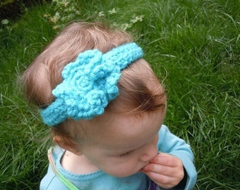Girls Teal headband with Flower