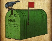 Bird On Old Mailbox US Mail Hand Colored and Tinted Digital Artwork Image Transfer Download 300 dpi for Pillows Totes Bags Napkins Towels