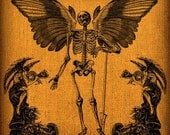 Halloween Winged Skeleton With Demon Angels Vintage Digital Collage Image Transfer Download jpeg or png 300 dpi for Pillows Bags Napkins