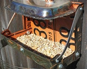 Double Matching License Plate Upcycled Recycled Bird Feeder of Orange and Black Folded Found Items