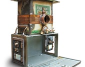 Birdhouse Bird house Art Piece Repurposed Upcycled Custom Clock Edgemont Crackers Tin Film Strongbox Mailbox Doors Metal Recycled OOAK