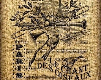 French Singing Birds Music Vintage Digital Image Transfer Download 300 dpi for Pillows Totes Bags Napkins Towels