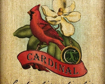 Red Cardinal Scroll Monogram Hand Colored and Tinted Digital Image Transfer Download jpeg or png 300 dpi for Pillows Bags Napkins Towels