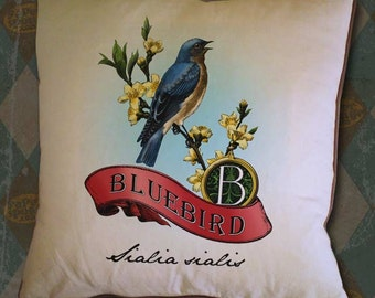 Bluebird Scroll Monogram Hand Colored and Tinted Digital Image Transfer Download jpeg or png 300 dpi for Pillows Totes Bags Napkins Towels