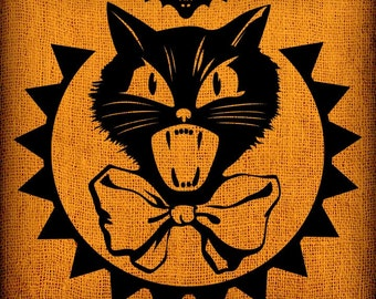 Halloween Scaredy Black Cat with Bat Vintage Image Collage Transfer Download Pillows Totes Bags Napkins Towels
