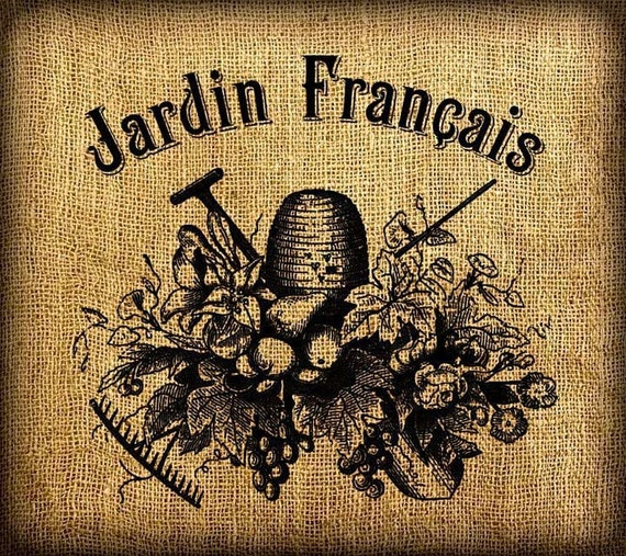 French garden jardin francais vintage digital image for Jardin francais