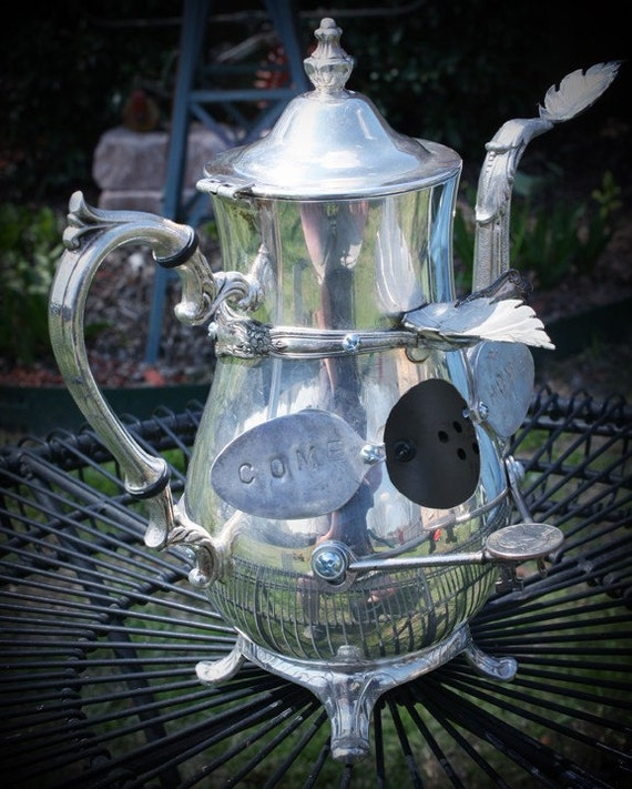 Found Objects Come Home Metal OOAK Birdhouse of Recycled Silverplate Teapot Spoons Skeleton Keys Leaves