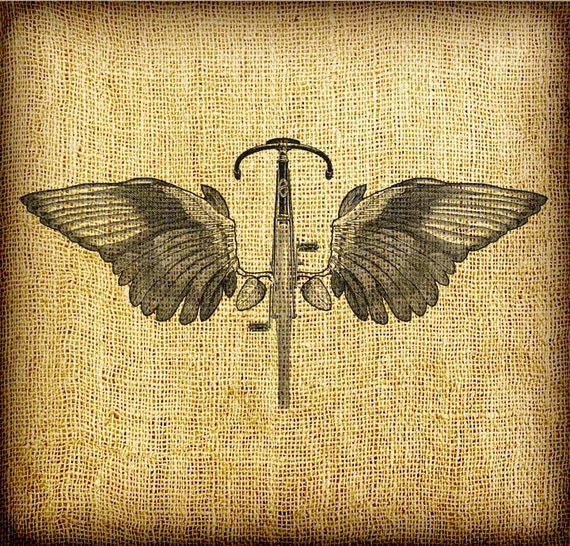 Flying Bicycle No. 2 Straight With Wings Large Vintage Digital Image Transfer Download jpeg or png  300 dpi for Pillows Totes Napkins Towels