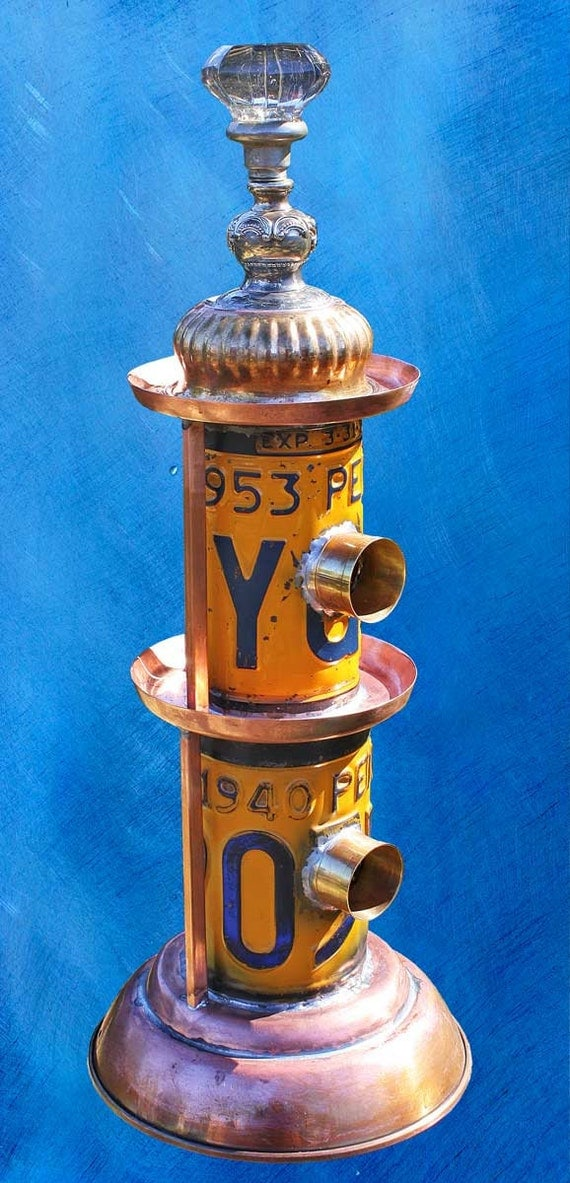 Birdhouse Bird house Upcycled Penthouse Brownstone Double License Plate of Found Objects Metal Recycled Upcycled Objects OOAK