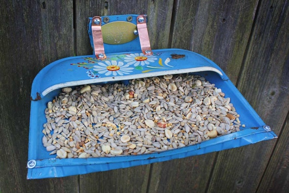 Repurposed Upcycled Recycled Bird Feeder Dust Pan Blue Metal Vintage Flower Found Items