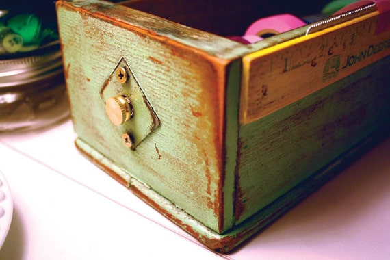 Repurposed Upcycled Wood Sewing Machine Cabinet Drawer Washi Tape Dispenser Box with Yardstick in Light Ivy Green and Yellow