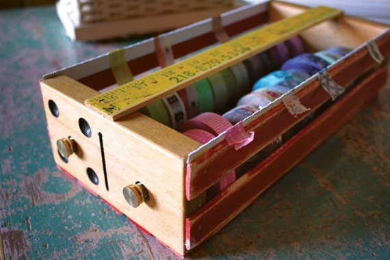 Repurposed Upcycled Wood Vintage Domino and Slats Drawer Double Twin Washi Tape Dispenser Box with Yardstick in Red Yellow Black