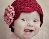 Be My Valentine Cluster Stitch Hat with NO-SEW Rose Crochet Pattern (407)
