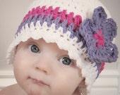 Beginners Candy Stripe Cloche and Flower Crochet Pattern (411)