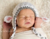 Little Lambie Ear Flap Hat Crochet Pattern (437)