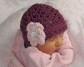 Plum Pudding Beanie and Flower Crochet Hat Pattern (346)