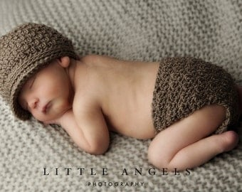 Brown-Eyed Boy Crochet Hat and Diaper Cover Pattern (527)