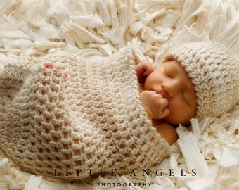 Love Knots Newborn Beanie and Cocoon Crochet Pattern -- Photography Prop (577)