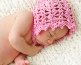 Elegant Spring Bonnet Baby Hat Crochet Pattern (352)