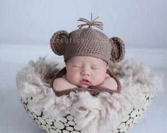 Cuddly Monkey Hat Crochet Pattern -- Multiple Sizes from Newborn through Age 3 (478)