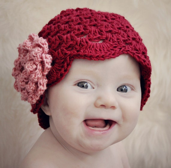 Be My Valentine Cluster Stitch Hat with NO-SEW Rose Crochet Pattern (407)