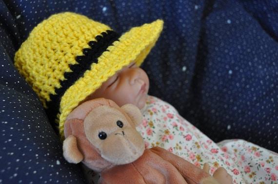 Curious Monkey Brimmed Hat Crochet Baby Hat Pattern (390)