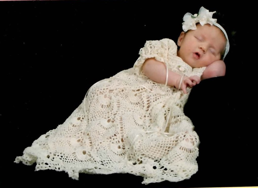 Kaitlyn 39 s blessing dress thread crochet pattern 950 for Making baptism dress from wedding gown