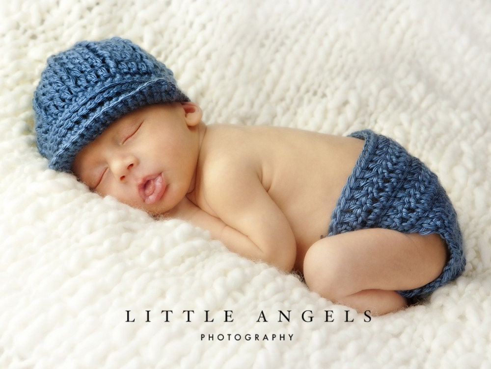 Baby Boy Newborn Hat Crochet Pattern : Baby Boy Blue Crochet Hat and Diaper Cover Pattern