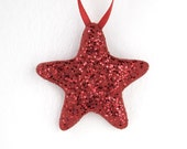 Red Rustic Home Decor, Red Star Ornament, Hanging Ornament, Sugar Fun Ornament, Christmas Ornament,Party Favor, Novelty Gift, Unique Star