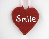 Smile Heart Ornament Red, Unique Sugar Fun Ornament, Christmas Valentines Weddings Personalized Greeting Holiday Every Day Gifts Favors
