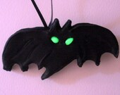 Unique Halloween Bat Ornament Sugar Hand Piped Hand Made One Of A Kind Glow Eyes Gifts October Birthday Custom Cake Topper Halloween Display