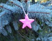 Pink Star Ornament, Royal Icing Vintage Inspired Sugar Fun Hanging Star Decorative Ornament