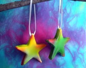 Colorful Tie Dye Star Ornaments, Sugar Fun Ornaments, Disney Cinderella Inspired Decor - Decorations, Novelty Hanging Star Ornaments - Gifts