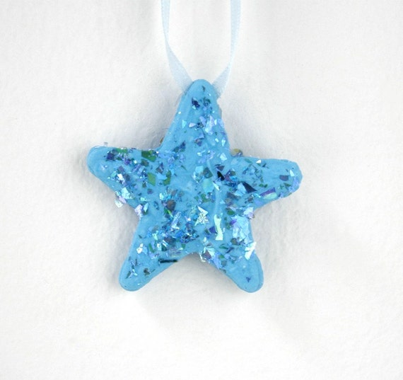 Turquoise Twinkling Star Sugar Fun Ornament with Glitter Flakes for Christmas, Birthdays, Party Favors, Gifts  & Celebrations, Made to Order