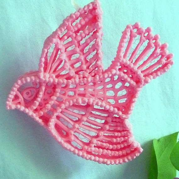 Pink Bird Unique Filigree Sugar Ornament Handmade with Love & Faith On a Wing and a Prayer