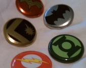 Superhero Buttons- Wonder Woman, Green Lantern, Batman, Flash, Legion of Superheroes