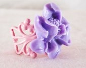 Shabby Chic Pink and Purple Flower Filigree Ring