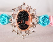 Gothic Lolita Pink and Blue Resin Rose Cuff Bracelet