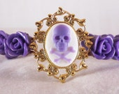 Punk Purple Skull Cameo Gold Cuff Bracelet with Matching Purple Roses