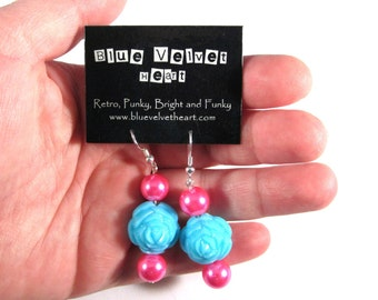 Retro Chic Teal Rose Earrings with Hot Pink Accents