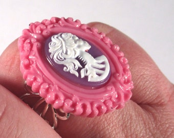 Princess Pink and Purple Gothic Lolita Cameo Ring