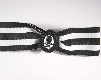 ON SALE - Tim Burton Inspired Circus Couture Black and White Striped Hair Bow