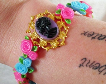 Gothic Lolita Gold-Plated Purple Cameo Bracelet with Colorful Flower Accents