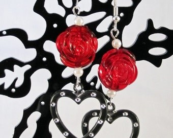 Dramatic Distressed Metal Heart Earrings with Red Lucite Roses