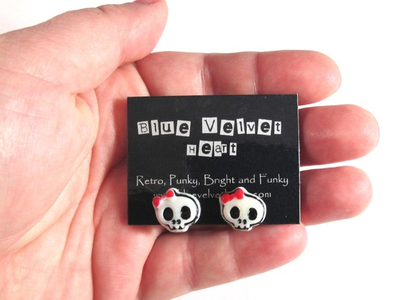 Skull Earrings with Cute Red Bow