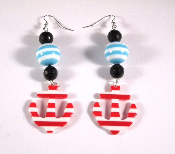 Nautical Dangle Earrings with Anchor Charms and Teal, White and Black Beads